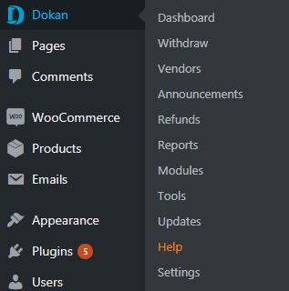 Image of Dokan Admin Backend