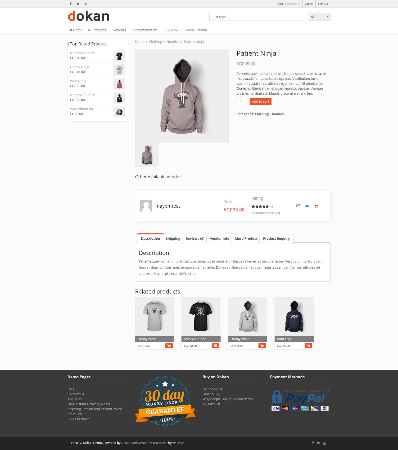 Dokan Starter Frontend Product Page