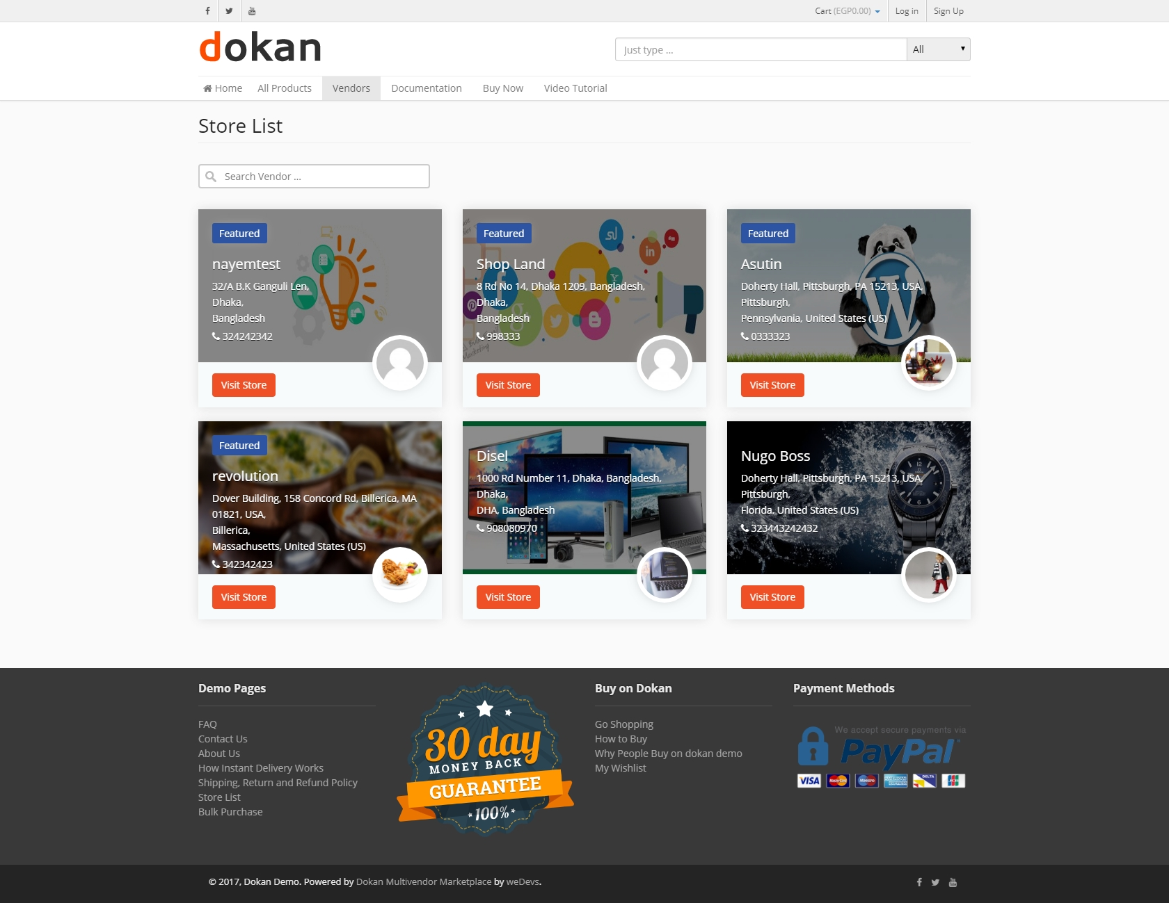 Dokan Starter Store Page