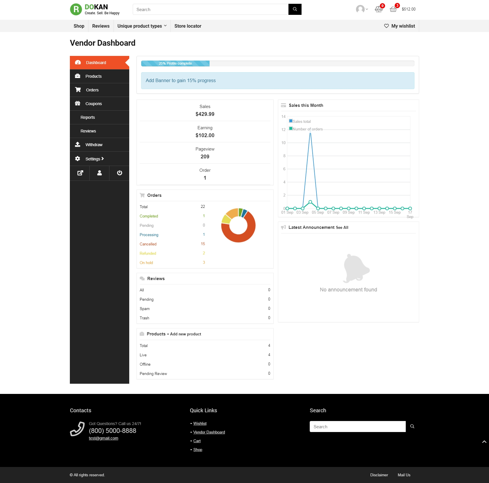 Image of Dokan Vendor Dashboard